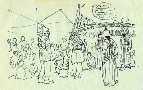 Lhamo Dancers Field Drawings