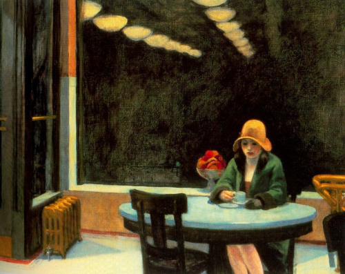 Hopper Drinking Coffee