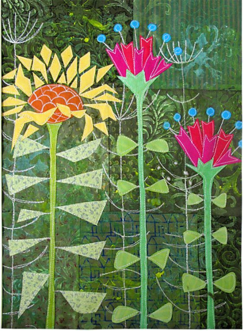 1950s Flowers art quilt by Gillian Travis