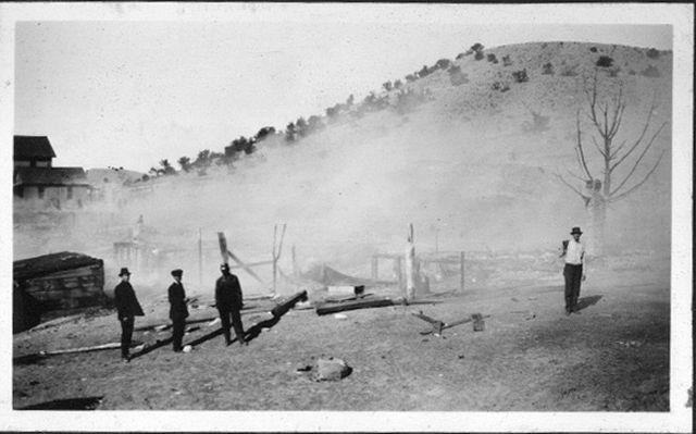 Fire on Main Street, Madrid NM circa late 1920s
