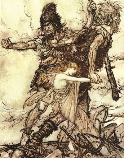 Freya, Norse Goddess Kidnapped by Giants, by Arthur Rackham