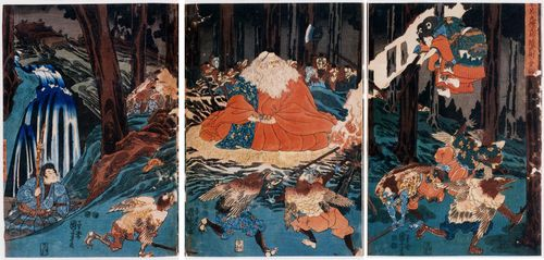 Kuniyoshi Woman Fighting the Tengu